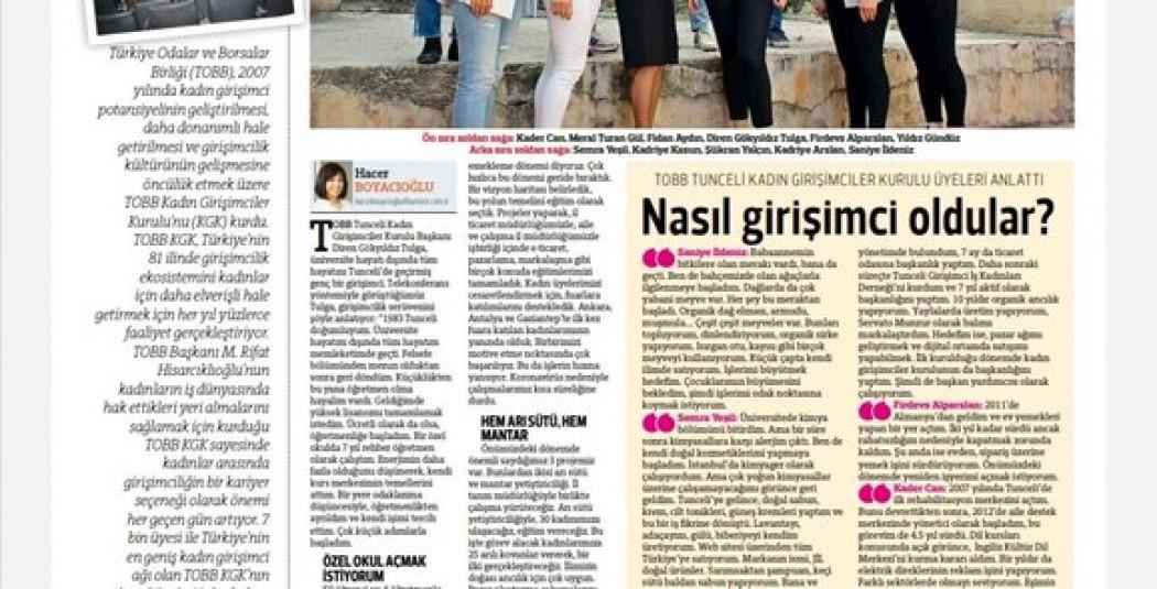 Kadın Kurulumuzun Hürriyet Gazetesi'nde çıkan haberi